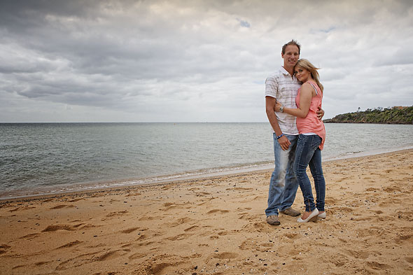 Kylie and Dave on Fishermans Beach in Mornington