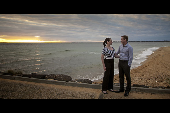 Kylie and Mike on Mordialloc Beach